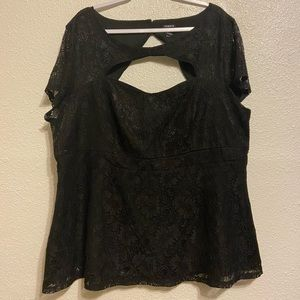torrid Tops - Torrid Lace Cut Out Peplum Black Top